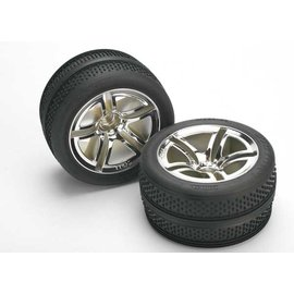 Traxxas Tires & wheels, assembled, glued (Twin-Spoke wheels, Victory tires, foam inserts) (nitro front) (2)