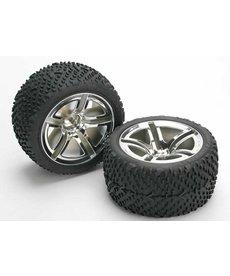Traxxas 5573 Tires & wheels, assembled, glued (Twin-Spoke wheels, Victory tires, foam inserts) (nitro rear) (2)
