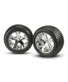 Traxxas 3770 Tires & wheels, assembled, glued (2.8') (All-Star chrome wheels, Alias tires, foam inserts) (electric rear) (2)
