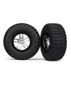 Traxxas Tires & wheels, assembled, glued (SCT Split-Spoke, satin chrome, black beadlock wheels, BFGoodrich Mud-Terrain T/A KM2 tires, foam inserts) (2) (2WD front)