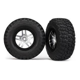 Traxxas Tires & wheels, assembled, glued (SCT Split-Spoke, satin chrome, black beadlock wheels, BFGoodrich Mud-Terrain T/A KM2 tires, foam inserts) (2) (2WD front)