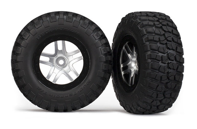 Traxxas 5877 Tires & wheels, assembled, glued (SCT Split-Spoke, satin chrome, black beadlock wheels, BFGoodrich Mud-Terrain T/A KM2 tires, foam inserts) (2) (2WD front)