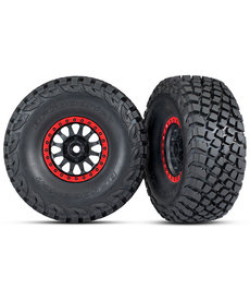 Traxxas Tires and wheels, assembled, glued (Method Race Wheels, black with red beadlock, BFGoodrich Baja KR3 tires) (2)