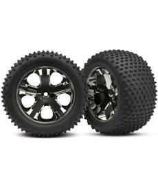 Traxxas 3770A Tires & wheels, assembled, glued (2.8') (All-Star black chrome wheels, Alias tires, foam inserts) (rear) (2) (TSM rated)