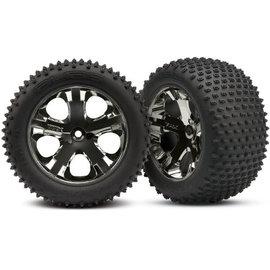 Traxxas Tires & wheels, assembled, glued (2.8') (All-Star black chrome wheels, Alias tires, foam inserts) (rear) (2) (TSM rated)
