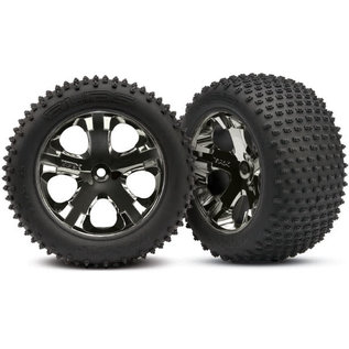 Traxxas Tires & wheels, assembled, glued (2.8') (All-Star black chrome wheels, Alias tires, foam inserts) (rear) (2) (TSM rated)