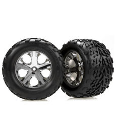 Traxxas 3669 Tires & wheels, assembled, glued (2.8') (All-Star chrome wheels, Talon tires, foam inserts) (nitro rear/ electric front) (2)