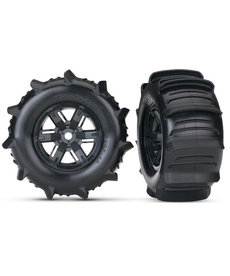Traxxas 7773 Tires & wheels, assembled, glued (X-Maxx black wheels, paddle tires, foam inserts) (left & right) (2)