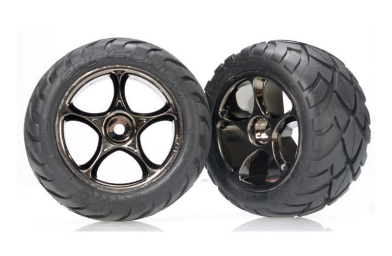 Traxxas Tires & wheels, assembled (Tracer 2.2' black chrome wheels, Anaconda 2.2' tires with foam inserts) (2) (Bandit rear)