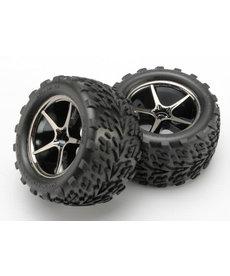Traxxas E-revo 1/16 Tires and wheels, assembled, glued (Gemini black chrome wheels, Talon tires, foam inserts) (2)