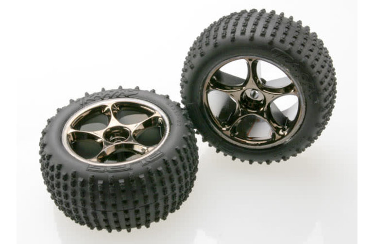 Traxxas Tires & wheels, assembled (Tracer 2.2' black chrome wheels, Alias 2.2' tires) (2) (Bandit rear, medium compound with foam inserts) (TSM rated)