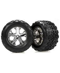 Traxxas 3668 Tires & wheels, assembled, glued (2.8') (All-Star chrome wheels, Talon tires, foam inserts) (electric rear) (2)
