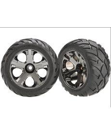 Traxxas 3777A Tires & wheels, assembled, glued (All-Star black chrome wheels, Anaconda tires, foam inserts) (nitro front) (1 left, 1 right)