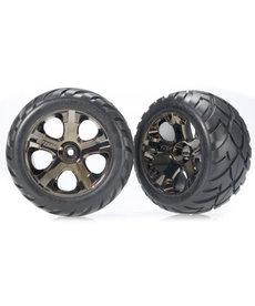 Traxxas 3776A Neumáticos y ruedas, ensamblados, pegados (ruedas de cromo negro All-Star, neumáticos Anaconda, insertos de espuma) (nitro trasero / delantero eléctrico) (1 izquierda, 1 derecha)