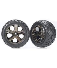 Traxxas 3776A Tires & wheels, assembled, glued (All-Star black chrome wheels, Anaconda tires, foam inserts) (nitro rear/ electric front) (1 left, 1 right)