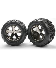 Traxxas Neumáticos y ruedas, ensamblados, pegados (2.8 ') (ruedas de cromo negro All-Star, neumáticos Talon, insertos de espuma) (parte trasera eléctrica) (2) (clasificación TSM)