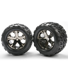 Traxxas Tires & wheels, assembled, glued (2.8') (All-Star black chrome wheels, Talon tires, foam inserts) (electric rear) (2) (TSM rated)
