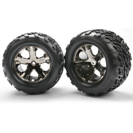 Traxxas Tires & wheels, assembled, glued (2.8') (All-Star black chrome wheels, Talon tires, foam inserts) (electric rear) (2) (TSM rated)