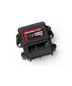 Traxxas Innovación ampliada  TQi Telemetry Expander 2.0 (# 6550X) Entradas (Vista de tres cuartos) La telemetría Traxxas cambia el juego al permitirle monitorear y registrar datos en tiempo real de su vehículo mientras conduce. El Telemetry Expander 2.0 resistent