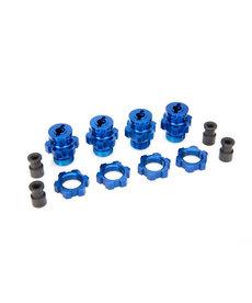 Traxxas 6856X Cubos de rueda, acanalados, 17 mm, cortos (4) / tuercas de rueda, acanalados, 17 mm (4) (anodizado en azul) / retén de cubo M4 X 0.7 (4) / pasador de eje (4) / llave, 5 mm