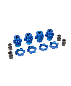 Traxxas 6856X Wheel hubs, splined, 17mm, short (4)/ wheel nuts, splined, 17mm (4) (blue-anodized)/ hub retainer M4 X 0.7 (4)/ axle pin (4)/ wrench, 5mm
