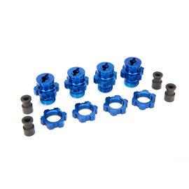 Traxxas 6856X Wheel hubs, splined, 17mm, short (4)/ wheel nuts, splined, 17mm (4) (blue-anodized)/ hub retainer M4 X 0.7 (4)/ axle pin (4)/ wrench, 5mm
