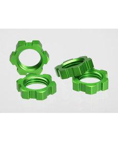 Traxxas Tuercas de rueda, estriadas, 17 mm (anodizado verde) (4)