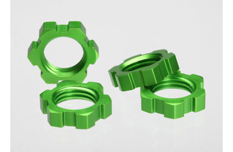 Traxxas Wheel nuts, splined, 17mm (green-anodized) (4)