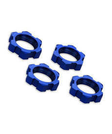 Traxxas 7758 Wheel nuts, splined, 17mm, serrated (blue-anodized) (4)