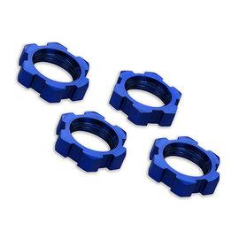 Traxxas 7758 Wheel nuts, splined, 17mm, serrated (blue-anodized) (4)