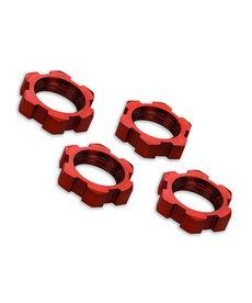 Traxxas 7758R Tuercas de rueda, acanaladas, 17 mm, dentadas (anodizado en rojo) (4)