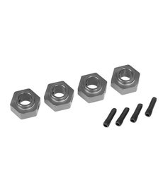 Traxxas Wheel hubs, 12mm hex, 6061-T6 aluminum (charcoal gray-anodized) (4)/ screw pin (4)