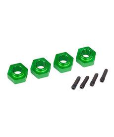 Traxxas Cubos de rueda, hexagonal de 12 mm, aluminio 6061-T6 (anodizado verde) (4) / pasador de tornillo (4)