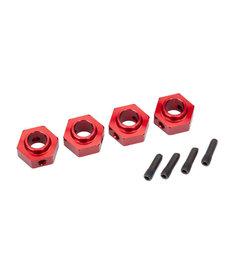 Traxxas Cubos de rueda, hexagonal de 12 mm, aluminio 6061-T6 (anodizado rojo) (4) / pasador de tornillo (4)