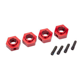 Traxxas Wheel hubs, 12mm hex, 6061-T6 aluminum (red-anodized) (4)/ screw pin (4)