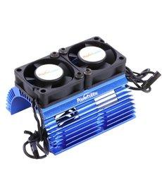 Power Hobby Disipador de calor del motor a escala 1/8 con ventiladores de alta velocidad Twin Tornado azules