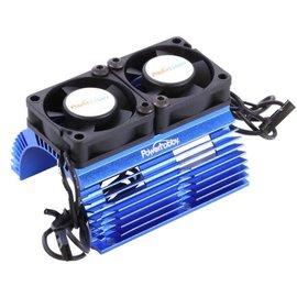 Power Hobby 1/8 Scale Motor Heat Sink W/ Twin Tornado High Speed Fans Blue