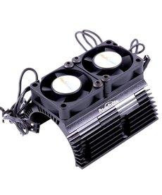 Power Hobby 1/8 Motor Disipador de calor con ventiladores de alta velocidad Twin Tornado Negro