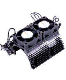 Power Hobby 1/8 Motor Heat Sink W/ Twin Tornado High Speed Fans Black