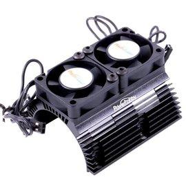 Power Hobby 1/8 Motor Heat Sink W/ Twin Tornado High Speed Fans Black