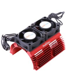 Power Hobby 1/8 Motor Heat Sink W/ Twin Tornado High Speed Fans Red