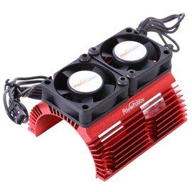 Power Hobby 1/8 Motor Heat Sink W/ Twin Tornado High Speed Fans Red
