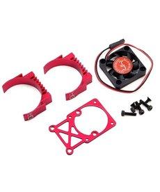 Hot Racing Disipador de calor del motor de dos piezas con clip Hot Racing con ventilador (rojo)