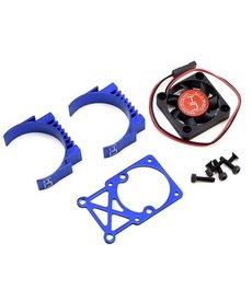 Hot Racing HRAMH550TE06 Disipador de calor del motor de dos piezas con clip y ventilador (azul) carreras calientes