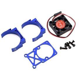 Hot Racing HRAMH550TE06 Clip-On Two-Piece Motor Heat Sink W/ Fan (Blue) hot racing