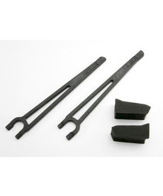 Traxxas Hold downs, battery, left & right (2)/ foam spacers (2) (fits standard battery packs)