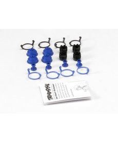 Traxxas 5378X Tapones de bola pivotantes (4) / botas antipolvo, goma (4) / tapones antipolvo, goma (4) / retenedores de botas antipolvo, negro (4), azul (4) (se requieren 2 paquetes para completar el camión)