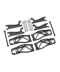 Traxxas Suspension kit, WideMaxx, black (includes front & rear suspension arms, front toe links, rear shock springs)