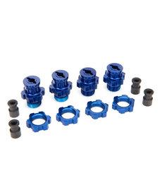 Traxxas 5853X Cubos de rueda, estriados, 17 mm, cortos (2), largos (2) / tuercas de rueda, estriados, 17 mm (4) (anodizado azul) / retenedor de cubo M4x0.7 (4) / pasador de eje (4) / llave, 5mm