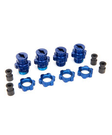 Traxxas 5853X Wheel hubs, splined, 17mm, short (2), long (2)/wheel nuts, splined, 17mm (4) (blue-anodized)/ hub retainer M4x0.7 (4)/axle pin (4)/wrench, 5mm